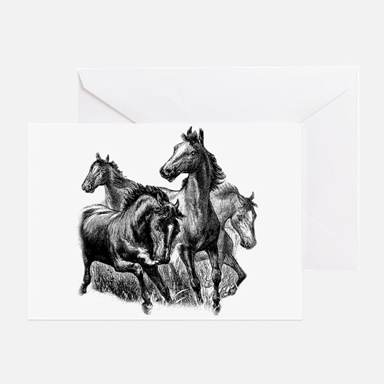 Wild Horses Illustration Greeting Card