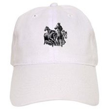 Wild Horses Illustration Baseball Baseball Cap