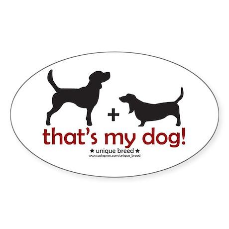 Beagle/Basset Oval Sticker