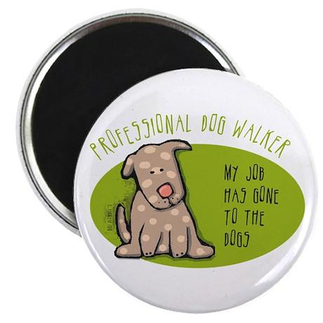"""Funny Dog Walker 2.25"""" Magnet (100 pack)"""