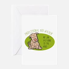 Funny Dog Walker Greeting Card