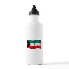 Wavy Kuwait Flag Water Bottle