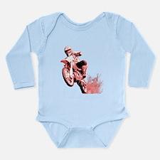 Red Dirtbike Wheeling in Mud Long Sleeve Infant Bo