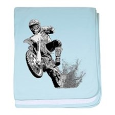 Dirtbike Wheeling in Mud baby blanket