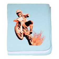 Orange dirtbike baby blanket