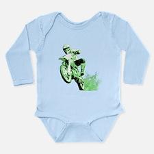 Green Dirtbike Wheeling in Mud Long Sleeve Infant