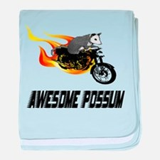 Flaming Awesome Possum baby blanket