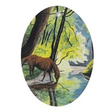 Horse at the Stream Ornament (Oval)