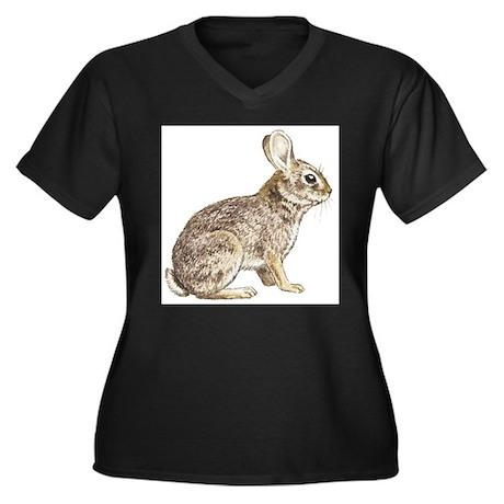 Cottontail Rabbit Women's Plus Size V-Neck Dark T-