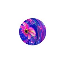 Pink Floral Abstract Mini Button