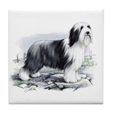 Cute Bearded collie art Tile Coaster
