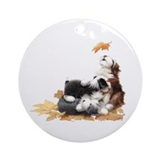 Cute Bearded collie Ornament (Round)
