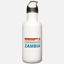 Retro Palm Tree Zambia Water Bottle