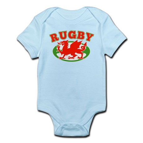 wlaes rugby ball Infant Bodysuit