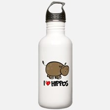 I Love Hippo Water Bottle