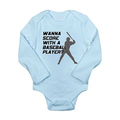 Score With A Baseball Player Long Sleeve Infant Bo
