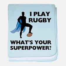 Rugby Superhero baby blanket