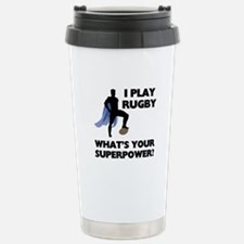 Rugby Superhero Stainless Steel Travel Mug