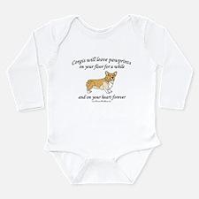 Corgi Pawprints Long Sleeve Infant Bodysuit