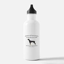 Doberman Pawprints Sports Water Bottle