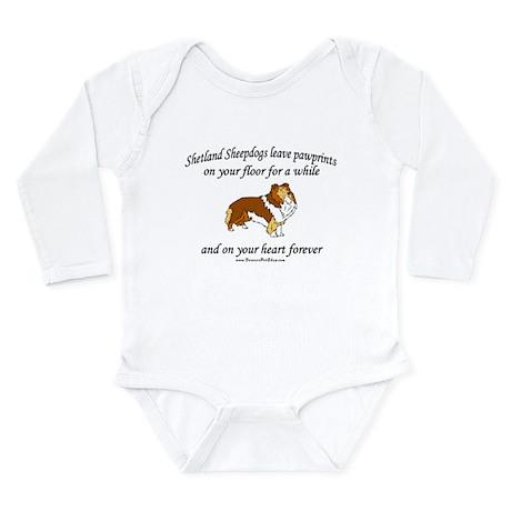 Sheltie Pawprints Long Sleeve Infant Bodysuit