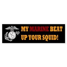Marine beat up squid Bumper Sticker