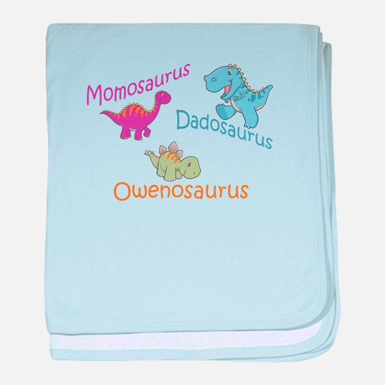 Mom, Dad & Owenosaurus baby blanket