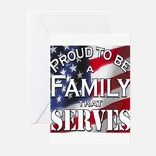 """""""Proud Family that Serves"""" Greeting Cards (Pk of 2"""