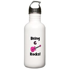 Being 6 Rocks! pink Water Bottle