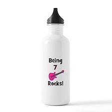 Being 7 Rocks! pink Water Bottle