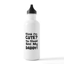 Think I'm Cute? Daddy - Black Water Bottle
