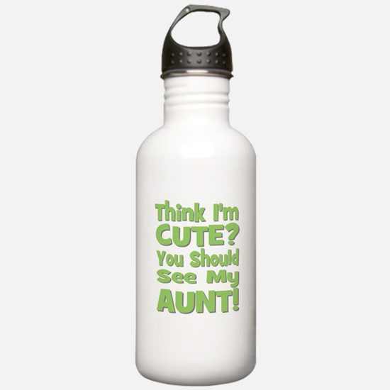 Think I'm Cute? Aunt Green Sports Water Bottle