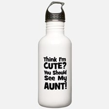 Think I'm Cute? Aunt - Black Water Bottle