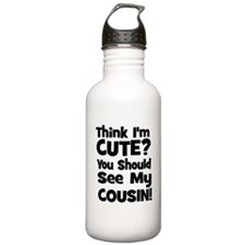 Think I'm Cute? Cousin - Blac Water Bottle