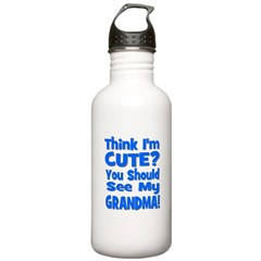 Think I'm Cute? Grandma Blue Water Bottle