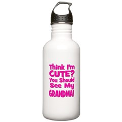 Think I'm Cute? Grandma Pink Water Bottle