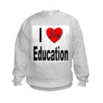 I Love Education (Front) Kids Sweatshirt