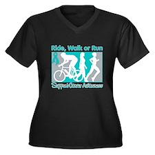 Ovarian Cancer RideWalkRun Women's Plus Size V-Nec
