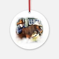 4-H Cowboy (fuzzy edged) Ornament (Round)