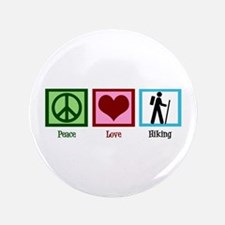 "Peace Love Hiking 3.5"" Button"