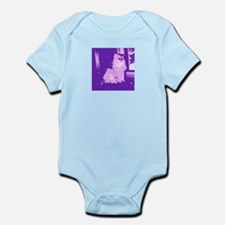 Pop Art Gray Long-haired Cat Infant Bodysuit