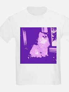 Pop Art Gray Long-haired Cat T-Shirt