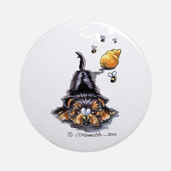 Bee Yorkie Lover Ornament (Round)