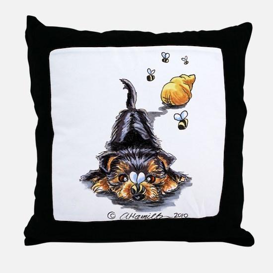 Bee Yorkie Lover Throw Pillow