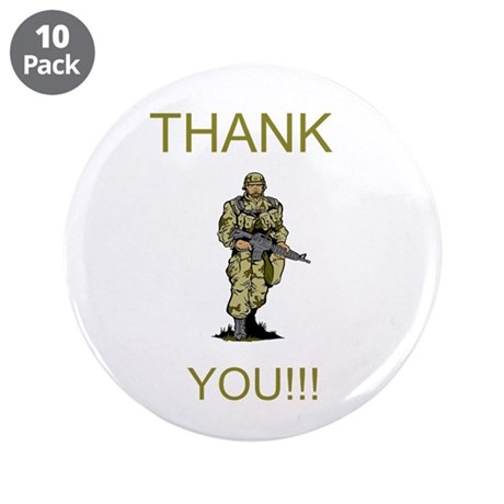 "Thank You - gold 3.5"" Button (10 pack)"