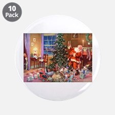 """SANTA CLAUS ON CHRISTMAS EVE 3.5"""" Button (10 pack)"""