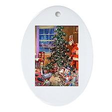 SANTA CLAUS ON CHRISTMAS EVE Ornament (Oval)