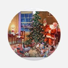 SANTA CLAUS ON CHRISTMAS EVE Ornament (Round)