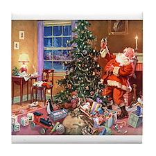 SANTA CLAUS ON CHRISTMAS EVE Tile Coaster
