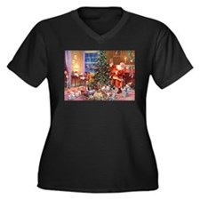 SANTA CLAUS Women's Plus Size V-Neck Dark T-Shirt